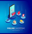 shopping online phone isometric vector image vector image