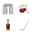 stone monument bagpipe whiskey golf scotland vector image vector image
