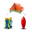 tent backpack and surf board set vector image vector image