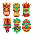 tiki masks tribal wooden totems in hawaiian style vector image vector image