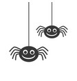 two cute black silhouette smiling spiders hanging vector image vector image