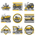 vintage colored construction vehicles emblems set vector image vector image