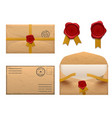 vintage envelope retro envelopes letter with wax vector image