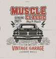 vintage hand drawn muscle car t shirt design vector image vector image