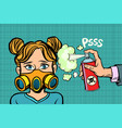 woman in a gas mask sprayed poison vector image vector image