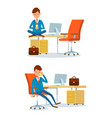 worker with drink of tea businessman on phone vector image vector image