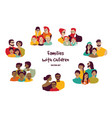 happy families parents with children isolated vector image