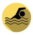 swimming water sport sign flat black icon vector image