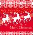 reindeers flying stars red background vector image