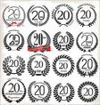 20 years anniversary laurel wreaths vector image vector image
