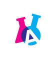 a letter lab laboratory glassware beaker logo icon