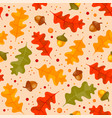 autumn floral seamless pattern with oak leaves vector image