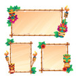 bamboo frames with tiki mask parchments and torch vector image vector image