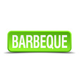 barbeque green 3d realistic square isolated button vector image vector image
