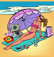 beautiful woman in bikini sunbathing on the beach vector image