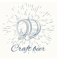 beer barrel and vintage sun burst frame craft vector image