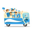 bus full of caucasian football players or fans vector image
