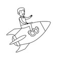 businessman flying in rocket with bitcoin symbol vector image vector image