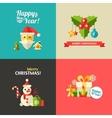 Christmas and Happy New Year flat design postcar vector image vector image