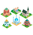church isometric temple religion building vector image vector image