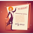 Circus Show Host Lady Girl in Suit with Cane Icon vector image vector image