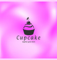 cupcake with cherry on pink background vector image vector image