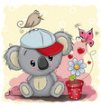 cute cartoon koala with flower vector image vector image