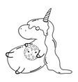 cute unicorn with cookie kawaii character vector image