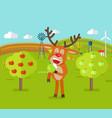 deer in garden eats apple cute reindeer snack vector image vector image
