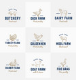 domestic animals and poultry retro logo vector image