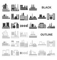 factory and facilities black icons in set vector image vector image