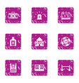 games of chance icons set grunge style vector image vector image