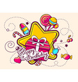 gift box and confection with text happy b vector image