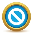 Gold sign ban icon vector image vector image