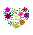 hello spring floral heart isolated on white vector image vector image