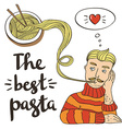 Hipster pasta doodles Backgroundhand drawing style vector image