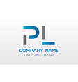 initial pl letter logo with creative modern vector image vector image