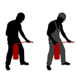 man with fire extinguisher vector image
