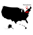 map of the us state of pennsylvania vector image vector image