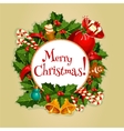 Merry Christmas round poster with xmas decoration vector image vector image
