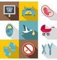 newborn care icon set flat style vector image vector image