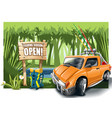 orange cartoon off-road car with fishing vector image vector image
