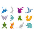 origami animals set geometric polygon cartoons vector image