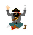 pirate yoga filibuster yogi buccaneer relaxation vector image