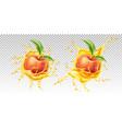 realistic peach leaf in juice splash vector image vector image