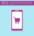 retro purple mobile phone and shopping cart icon vector image vector image