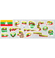 set national flag myanmar in vector image
