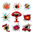 set of comic style bombs dynamite explosions vector image vector image