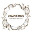 sketch lemons round banner - organic food banner vector image vector image