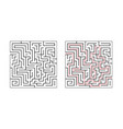 square labyrinth maze game for children logic vector image vector image